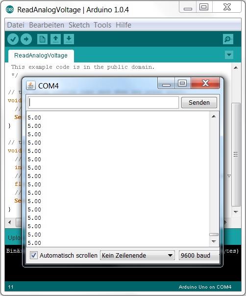 Analoge Werte im Serial Monitor